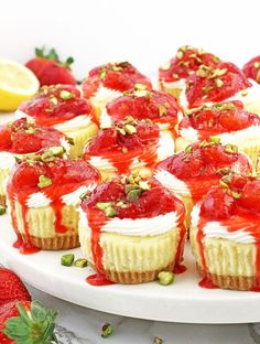 These Strawberry and Cream Mini Cheesecakes consist of creamy cheesecake filling, topped with tasty soft cream and chunky homemade strawberry sauce. Baked Strawberries, Strawberries And Cream, No Bake Cherry Cheesecake, Keto Cheesecake, Appetizer Recipes, Dessert Recipes, Cucumber Bites, Cucumber Salad, Fruit Salad