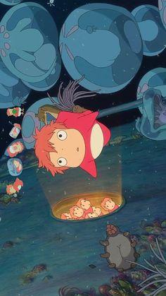지브리 배경화면, 벼랑위의 포뇨 핸드폰 배경화면 : 네이버 블로그 Studio Ghibli Wallpaper, Wallpaper Wa, Studio Ghibli Art, Studio Ghibli Movies, Cartoon Wallpaper, Girls Anime, Another Anime, Hayao Miyazaki, Animation