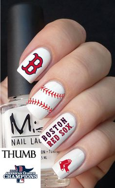 Red Sox Nail Decal By Designernails On Etsy 3 95 Need These Next October Infinity