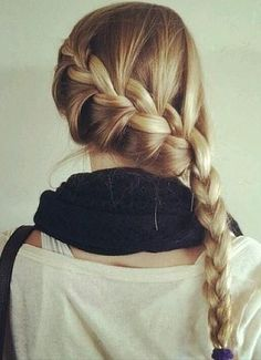 French braid styled to the side-wish I had all this hair!