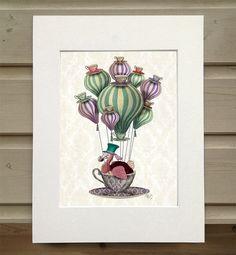 Alice in Wonderland Print Dodo Bird Balloon Hot Air by LoopyLolly
