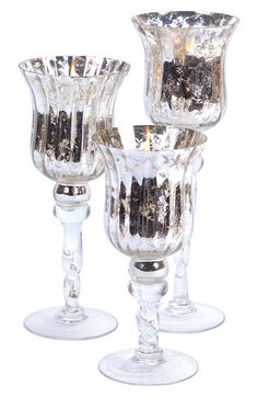 Melrose Gifts Mercury Glass Candle Holder | Nordstrom Mercury Glass Candle Holders, Candle Holder Decor, Pillar Candle Holders, Pillar Candles, Candleholders, Krylon Looking Glass, Mason Jar Wine Glass, Decoration Table, Scented Candles