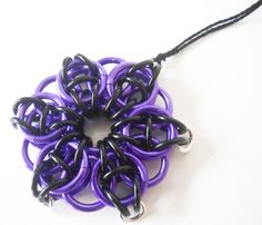 Christmas ornament Chainmaille Gothic Star Purple and black. $15.00, via Etsy.