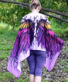 Goddess clothing description for silk scarfs.   Scarf size - 24,5 in x 79 in (62 cm x 200 cm), material - 100% silk satin.  Growth of the model on the photo 173 сm (5'8) , please, note, if you are higher or shoter than that. The Purple scarf will become an excellent gift for any person and for any reason. Present wings to the ones you love.   Silk satin 100%. It is recommended to pass the scarf to the dry cleaning, or to wash it very carefully in a soft clearnser. Don't rub or soak it! After…
