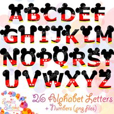 36 PNG Mickey Alphabet Letters Mouse Digital Letters por SmileShake