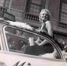 Marilyn Monroe as Grand Marshall, leading the Miss America Parade in Atlantic City, September 2nd 1952