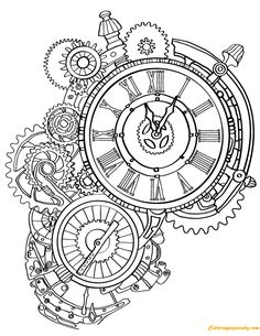 The Collection Of Steampunk Images For Coloring Pages steampunk clock adult coloring page Steampunk Coloring Pages. Steampunk is an art concept including the theme of science fiction and divided of fiction and fantasy. The main setting plac. Free Adult Coloring Pages, Online Coloring Pages, Coloring Book Pages, Coloring Sheets, Steampunk Drawing, Steampunk Clock, Steampunk Tattoo Design, Gothic Steampunk, Steampunk Necklace