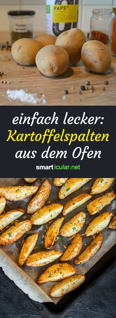 Schnell gemacht, lecker, regional: diese knusprigen Kartoffelecken haben das Pot… Made fast, delicious, regional: these crispy potato wedges have the potential to be your favorite recipe and make fryer pommes look pale. Crispy Baked Potato Wedges, Baked Potato Oven, Sweet Potato Wedges, Crispy Potatoes, Cheese Appetizers, Vegan Appetizers, Cake Vegan, Wedges Recipe, Fries In The Oven
