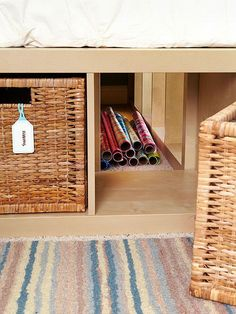 Hidden Storage. Take advantage of hidden storage beneath the bed to store your items in this fantastic way to get your things tidy and clean without extra space.