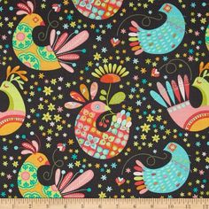 Michael Miller Birds & The Bees Feathered Flock Stone from @fabricdotcom  Designed by Tamara Kate for Michael Miller, this cotton print fabric is perfect for quilting, apparel and home decor accents. Colors include dark grey, white, shades of pink, shades of blue, shades of orange, and shades of green.
