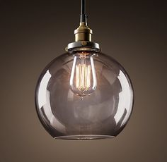 20th C. Factory Filament Smoke Glass Café Pendant from Restoration Hardware RH