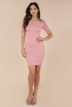 984c5e39bc  MARI  CROCHET SLEEVE OPEN SIDED BANDAGE DRESS (K4002) - WOW Couture Asia