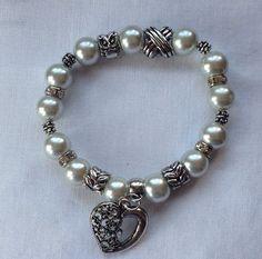 White Pearl Stretch Bracelet.  on Etsy, $15.00