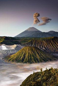 Bromo volcano, Java, Indonesia.   Many of the volcanos in Bali are still active. They actually use the lava, by cutting into large blocks and using like cement blocks.