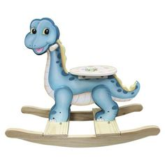 Kids Rocking Chair: Teamson Kids - Dinosaur Kingdom Rocker-Add a cute little dinosaur rocker from teamson designs to your child's indoor play area for a touch of prehistoric fun. Rocker is made of carved, hand-painted wood. Its wide, comfortable seat makes rocking more secure. Holds up to 100 pounds. Price $100.30 SEE DETAILS: http://www.everythingkids.co/childrens-furniture/