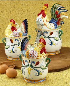 "french country - Fitz and Floyd ""Ricamo®"" Canisters, Set of 3 Rooster Kitchen Decor, Rooster Decor, Chicken Kitchen, Kitchen Canister Sets, Chicken Art, Chickens And Roosters, Cool Kitchen Gadgets, Gadget Gifts, French Country Decorating"