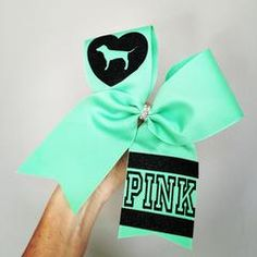 MINT GREEN LOVE PINK DOG CHEER BOW SPRING MINT GREEN