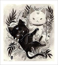 Original art, prints & products by Siamés Escalante. Art Sketches, Art Drawings, Illustration Art, Illustrations, Art Graphique, Aesthetic Art, Crazy Cats, Dark Art, Cute Art