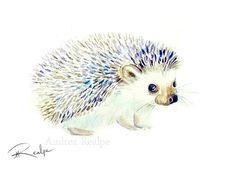 Hedgehog - Animal Art - Print - Illustration- Watercolor Painting - Nature Art - Wildlife - Cute Hedgehog - Print - Nursery Art