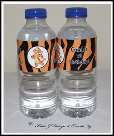 Water Bottle Labels #Tigger #Tiger #Winnie #The #Pooh #Unisex #Boy #Girl #1st #Baby #Shower #Birthday #Bunting #Party #Decorations #Ideas #Banners #Cupcakes #WallDisplay #PopTop #JuiceLabels #PartyBags #Invites #KatieJDesignAndEvents #Personalised #Creative
