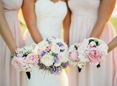 Blush bouquets, pink white and lilac bouquets