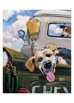 dog riding in back of pickup - painting Animal Paintings, Animal Drawings, Art Drawings, Dog Artwork, Dog Portraits, Whimsical Art, Pastel, Funny Art, Painting Inspiration