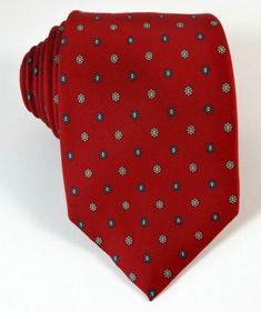 Vintage zijden stropdas rode bloem gestippelde door TheTieChest