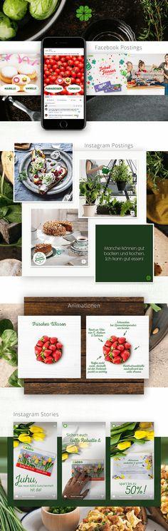 Idee, Kreation und Umsetzung von kreativen Social Media Postings, Ads und ganzen Social Media Kampagnen. Good Food, Knowledge