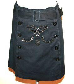 Prada Black Cotton Sequin Embellished Sailor Skirt