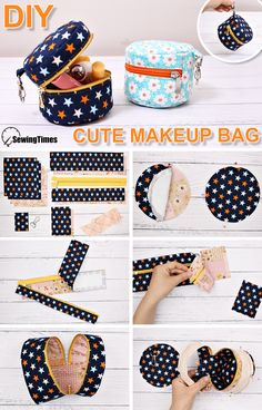 Small Sewing Projects, Sewing Crafts, Sewing Tutorials, Hobo Bag Tutorials, Makeup Bag Tutorials, Sewing Ideas, Cute Makeup Bags, Pouch Pattern, Bag Patterns To Sew