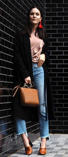 #spring #outfits  Black Coat & Tan Ruffle Top & Ripped Jeans & Brown Leather Pumps