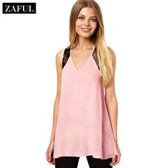 ZAFUL Women's Elegant Chiffon Tops 2015 Fashion Sexy V-neck Lace Cross Patchwork Backless Summer Tank Top Pink Size M L Xl