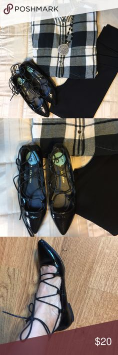 CHINESE LAUNDRY FLATS Wore twice great condition very cute ties black flats shoes. A great addition to your closet. They can be ware with jeans or leggings. Also the material is very soft. Chinese Laundry Shoes Flats & Loafers