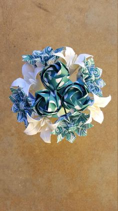 Teal Origami Flower Arrangement by FlorigamiFashions on Etsy