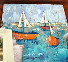 "Sailboats oil painting by Lauren Dunn. 30"" x 30"" Great for summer condos, lake houses, or beach!"