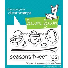 Scrapbookdepot - Lawn Fawn Clear Stamps 3x2inch - Winter Sparrows - LF565 - Lawn Fawn - Afbeeldingen