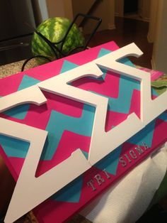 What you'll need: wooden board, Greek letters, alphabet stickers, paint. (All found at Michaels crafts) but in phi mu Gamma Sigma Sigma, Alpha Sigma Alpha, Theta, Delta Zeta Crafts, Sorority Crafts, Cute Crafts, Crafts To Do, Diy Crafts, Sorority Pictures