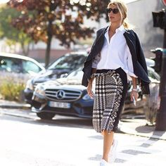 #SimoneRocha's heritage-inspired tweed skirt is given contemporary context with sneakers and a bomber jacket, as seen on Vice President of Global Buying Sarah Rutson. Get her #style at #NETAPORTER #SeeitLoveitBuyit #PFW #StreetStyle by theurbanspotter