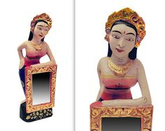 Balinese Goddess Mirror. One Of A Kind Hand Carved by TonyArmato, $68.00