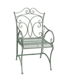 Ascalon Heritage Carver Chair in Grey.Stylish and sturdy metal Chair for outdoor use. Has intricate ornate swirl detailing and is finished in grey coloured paint. Features folding arms for easier storage. From Lock Stock and Barrel Furniture.