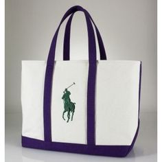 Ralph Lauren Big Pony Canvas Handbag Purple$43.57