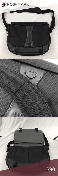 "TUMI authentic messenger laptop bag black TUMI authentic messenger bag. Nylon with leather bottom, flap over, removable strap   Excellent used condition  15"" wide x 13"" high Tumi Bags Messenger Bags"
