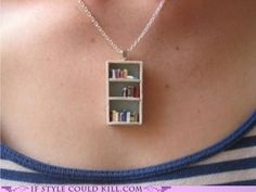 Bookshelf necklace from etsy seller Coryographies. $31.78. Cutest little thing ever.