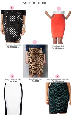 Slim Skirts: The slim, curve-hugging silhouette of the pencil skirt offers built-in sex appeal, which makes it an obvious choice for a night out look as well.