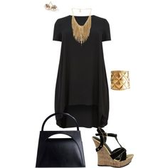 A fashion look from February 2015 featuring hi low dresses, black shoes and black handbags. Browse and shop related looks.