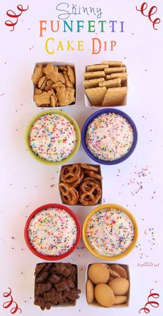 Skinny Funfetti Cake Dip 1 box Pillsbury Funfetti Cake Mix  2 cups nonfat plain yogurt  1 1/2 cups Light Cool Whip (thawed)  sprinkles  Place cake mix in a large bowl. Add nonfat plain yogurt and Light Cool Whip, mix until are there are no lumps. Refrigerate for 2 hours before serving. Sprinkle with sprinkles and then serve with low-fat vanilla wafers, pretzels, graham crackers or Teddy Grahams.