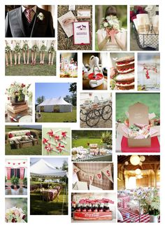 Red and green picnic wedding
