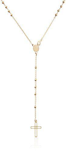 "14k Gold Italian Rosary Necklace, 16"" - http://jewelryfromusa.com/14k-gold-italian-rosary-necklace-16/"