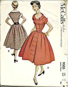 Vintage 1953 Dress Pattern with Full Skirt McCalls by Abbysfabric, $12.50