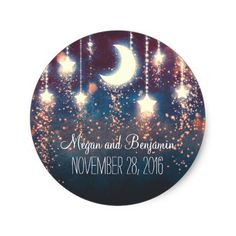 moon and stars enchanted romantic wedding classic round sticker